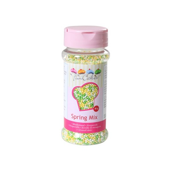 Sprinkles mini green, yellow and white balls 80gr