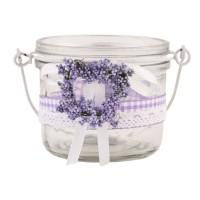 Vaso cristal lavanda y puntilla