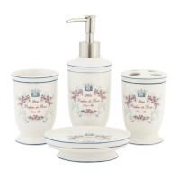 Juego 4 accesorios baño cerámica París Roses