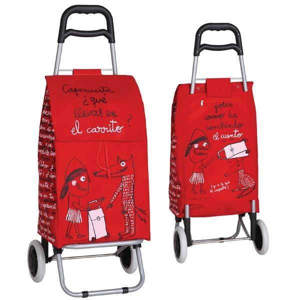 carro compra rojo 2 ruedas caperucita decoraci n orden