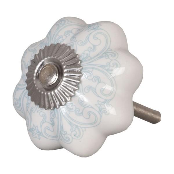 Baños Estilo Arabesco: > Tirador antiguo porcelana arabesco blanco, turquesa y plateado