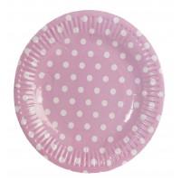 Platos papel redondos rosas con topos blancos