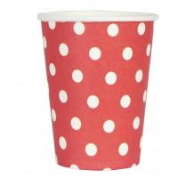 Vasos papel rojos con topos blancos