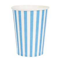 Vasos papel blancos con rayas azules