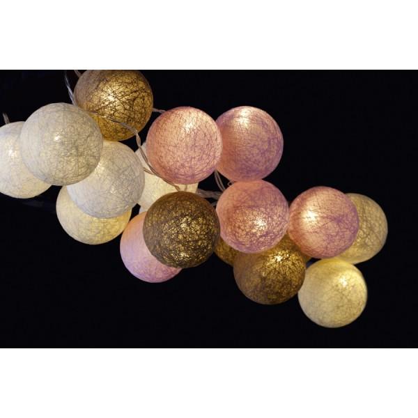 Guirnalda bolas de hilos 20 led tonos pastel decoraci n - Bolas de hilo ...
