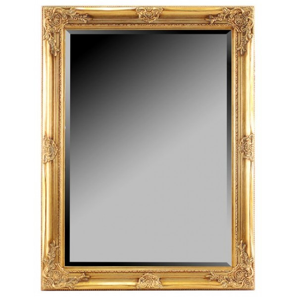 Specchio Barocco Dorato Di Resina 70 X 100 Cm