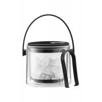 Black double wall ice bucket with tweezers1,5 l Cool Bodum
