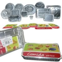 Paquete 1 envase rectangulare de aluminio con tapa de cartón 310x210x42 mm