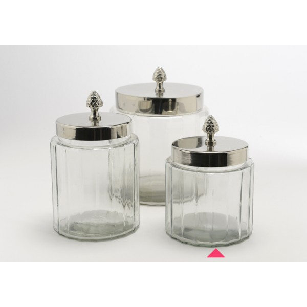 Bote cristal vintage con tapa met lica peque o decoraci n - Bote cristal con tapa ...