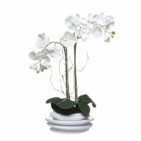 Orquideas con hojas artificiales en maceta cerámica blanca 26x69 cm