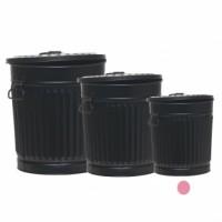 Cubo basura metálico negro con tapa Vintage 30xh32 cm