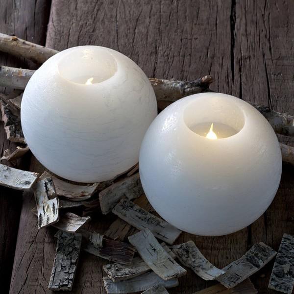 Set 2 velas redondas blancas con luz led 12 cm