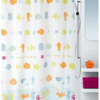 Cortina baño textil Happy Fish multicolor 180x200 cm