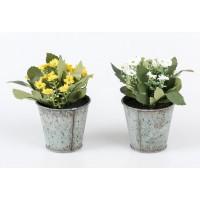 Maceta metálica mini con flores blancas o amarillas 14x14x14 cm