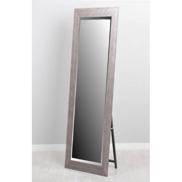 Espejo con soporte marco resina plateado 40x150cm 53x163 for Espejo de pie plateado
