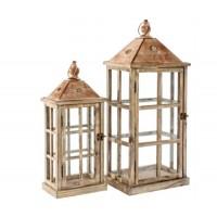 Farol madera y cristal madera natural pequeño 20x13xh47cm