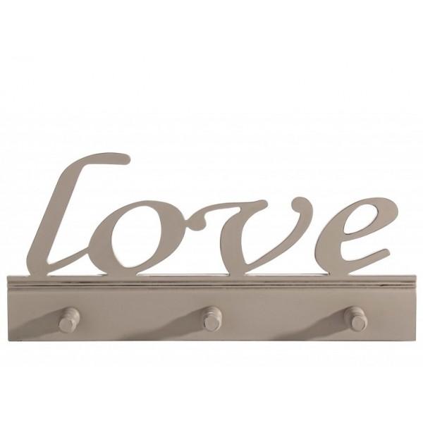 Perchero de pared en madera love 3 colgadores 49 5xh23cm - Colgadores de pared de madera ...
