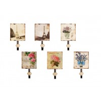 Perchero individual metálico diseños florales 6 modelos 12x7,5x13cm