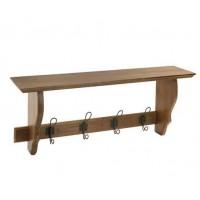 Perchero de pared en madera con estante 4 colgadores metálicos 30x80x20cm