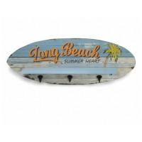 Perchero de pared madera tabla Surf azul Spirit Long Beach 28x76x11cm
