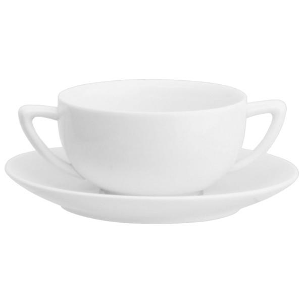 Taza con 2 asas porcelana blanca consom con plato 440ml for Platos porcelana blanca