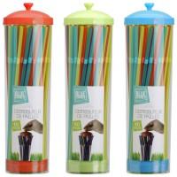 Dispensador plástico de pajitas de colores 100unis 25cm