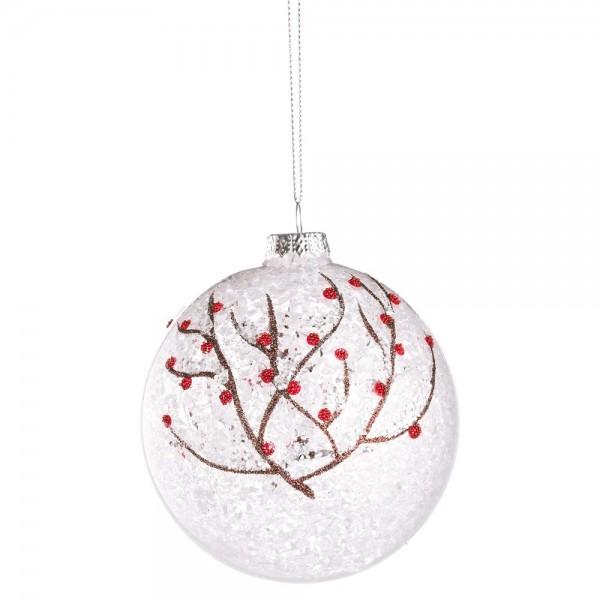 Bola rbol de navidad cristal transparente ramitas nevadas - Bola arbol navidad ...