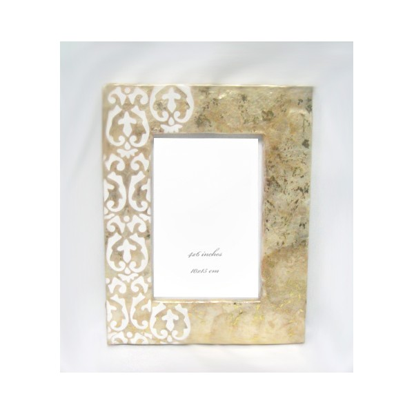 Marco fotos n car beige con decoraci n en blanco 10x15 cm regalos - Marco fotos 10x15 ...