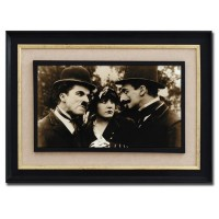 Cuadro imagen cine antiguo en sepia con cristal marco negro 65x45 cm