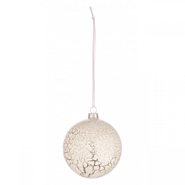 Bola rbol de navidad cristal blanca craquelada 8 cm - Bola arbol navidad ...