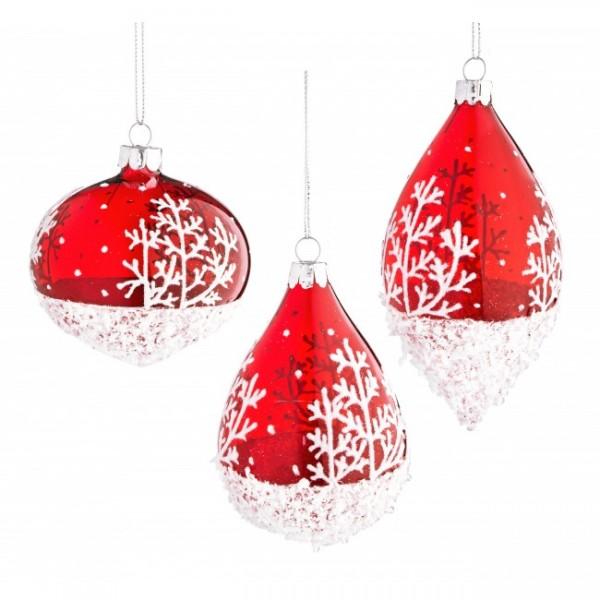 Bola rbol de navidad cristal rojo con nieve 7 cm 3 - Bola arbol navidad ...