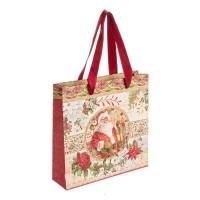 Bolsa regalo papel roja estampado Papa Noel 21x6xh21 cm