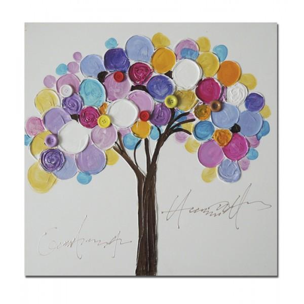 Lienzo cuadro arboles colores vivos adorno botones 60x60 - Cuadros colores vivos ...