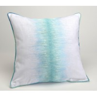 Cojín algodón con relleno bordado rayas azul turquesa 40x40 cm