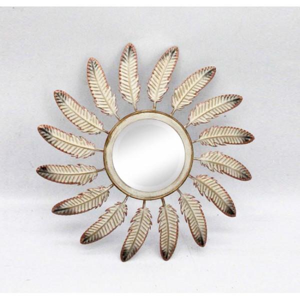 Espejo redondo marco met lico hojas 37 5cm decoraci n espejos for Espejos con marco metalico