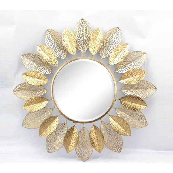 Espejo redondo marco met lico hojas caladas doradas 91cm for Espejos con marco metalico