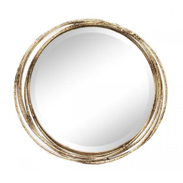 Espejo redondo marco met lico aros dorados 44cm decoraci n for Espejo redondo grande