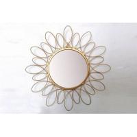 Espejo redondo borde metálico dorado flor 38 cm