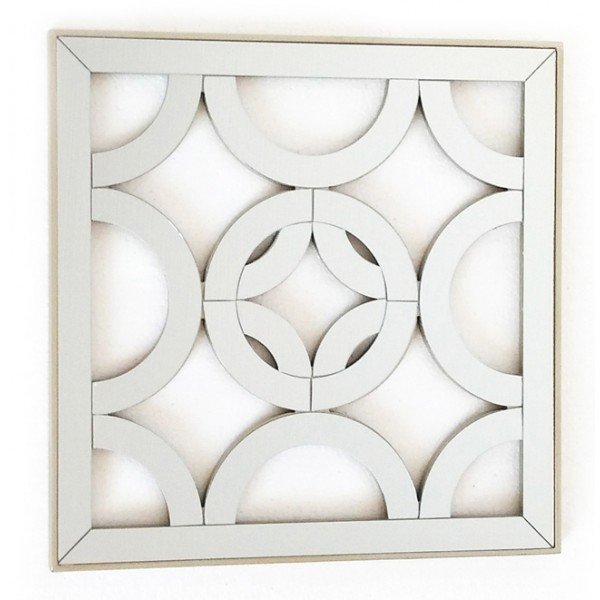 Espejo cuadrado resina champagne calado circulos 40x40 cm for Decoracion espejos cuadrados