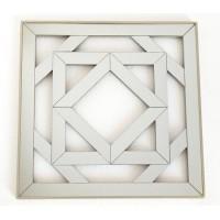 Espejo cuadrado resina champagne calado cuadrados 40x40 cm