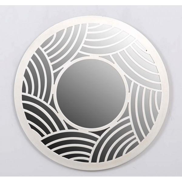 Espejo redondo marco resina blanco ondas 50cm decoraci n for Espejo redondo blanco