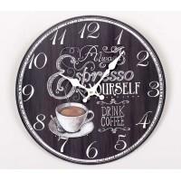 Reloj de pared madera pizarra negro Espresso 34cm