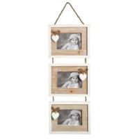 Marco de fotos madera 3 fotos para colgar con corazones 63,5x20cm