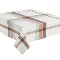 Mantel algodón blanco con rayas tostadas 140x260cm