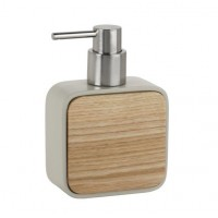 Dispensador de jabón madera y poliresina beige 10x5x14,5cm