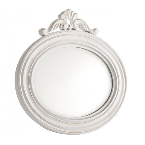 Espejo ovalado marco blanco con adorno superior 30x29cm for Espejo ovalado blanco