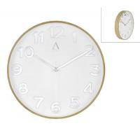 Reloj de pared efecto madera roble esfera blanca números plateados 30cm