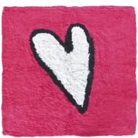 Alfombra baño Adoptamos pulpo rosa corazón blanco 55x55 cm
