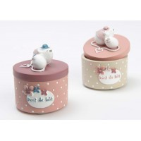 Caja para dientes redonda beige o rosa con ratoncillo 5x6cm