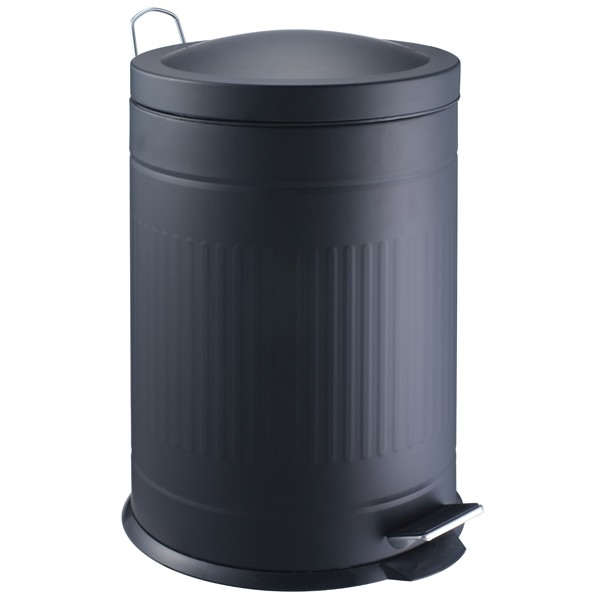 Papelera metal step negro 20 litros decoraci n orden - Cubos de basura originales ...